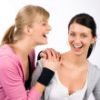 Two sport woman friends smiling — Stock Photo