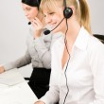 Customer service woman call center phone headset — Stock Photo