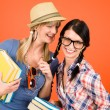 Two woman friends young students hold books — Stock Photo