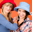 Two young friends woman funny outfit — Foto Stock