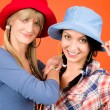 Two young friends woman funny outfit — Stockfoto