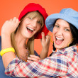 Two young friends woman funny outfit — Lizenzfreies Foto