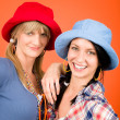 Two young friends woman funny outfit - Stock Photo