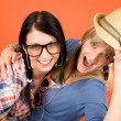 Stock Photo: Two woman friends young have fun crazy