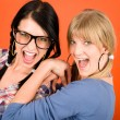 Two woman friends young have fun crazy — Stock Photo