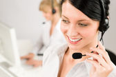 Headset telefone cliente serviço mulher chamada centro — Foto Stock