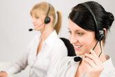Customer service woman call center phone headset — Foto de Stock