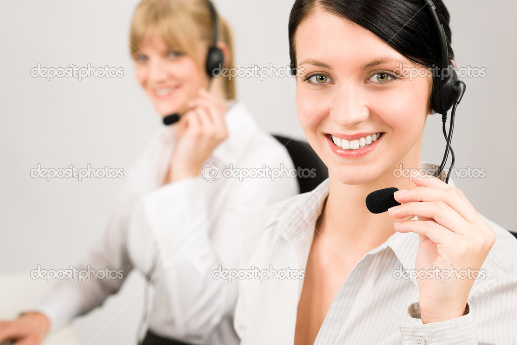 Customer service team woman call center smiling operator phone headset  Stock Photo #8852143
