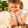Young girl play chess cute smile — Stock Photo