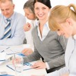 Business meeting teamwork young woman smiling — Stockfoto #9036760