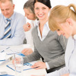 Stock Photo: Business meeting teamwork young woman smiling