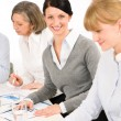 Business meeting teamwork young woman smiling — Stock Photo