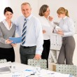 Stock Photo: Sales meeting business review reports