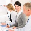 Giving presentation young woman during meeting — Foto Stock