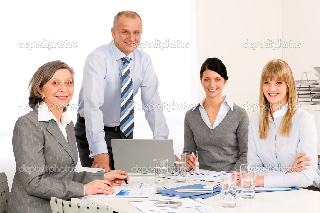 Business team meeting happy colleagues in office portrait — Stock Photo #9036674