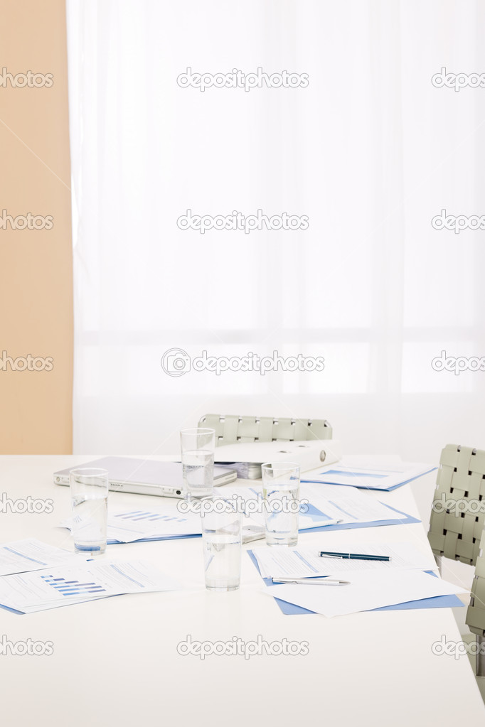 Office supply on table after successful sales business meeting  Stock Photo #9036789