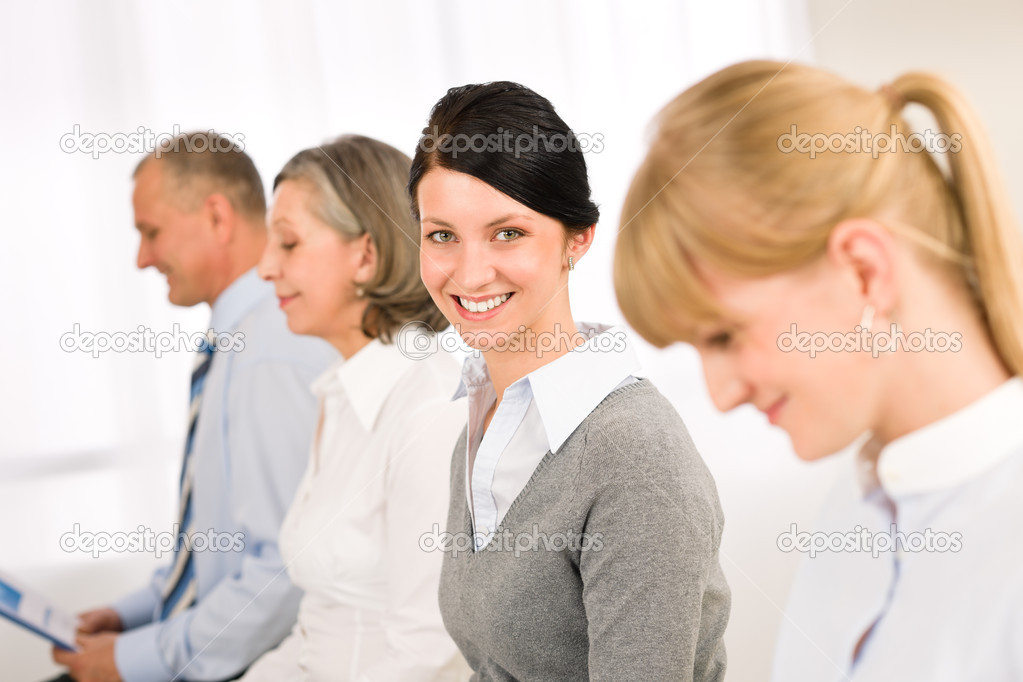 Interview applicants business waiting young woman smiling  Stock Photo #9036834