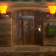 Stock Photo: View on mister mouse home wooden door
