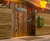 Ver el señor ratón de madera puerta de su casa — Foto de Stock