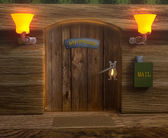 View on mister mouse home wooden door — Stock Photo