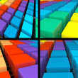 Stock Photo: 3d colorful rainbow texture set