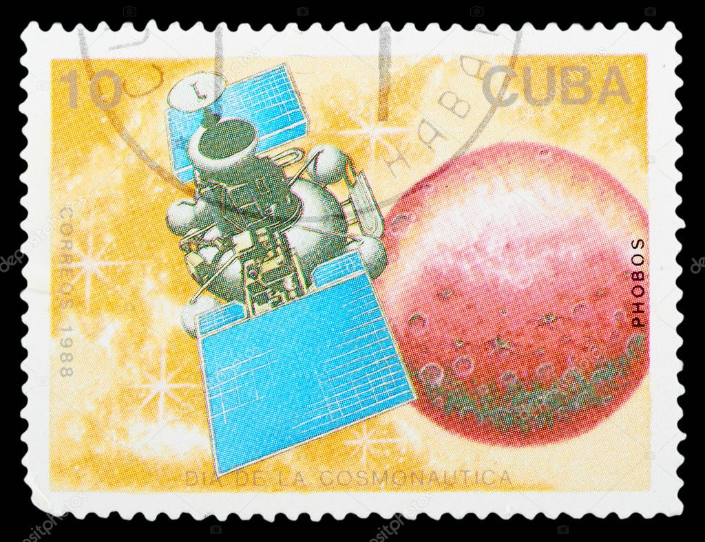 CUBA - CIRCA 1988: A stamp printed in Cuba, shows a spacecraft Phobos, series Cosmonauts Day, circa 1988  Stock Photo #9018344
