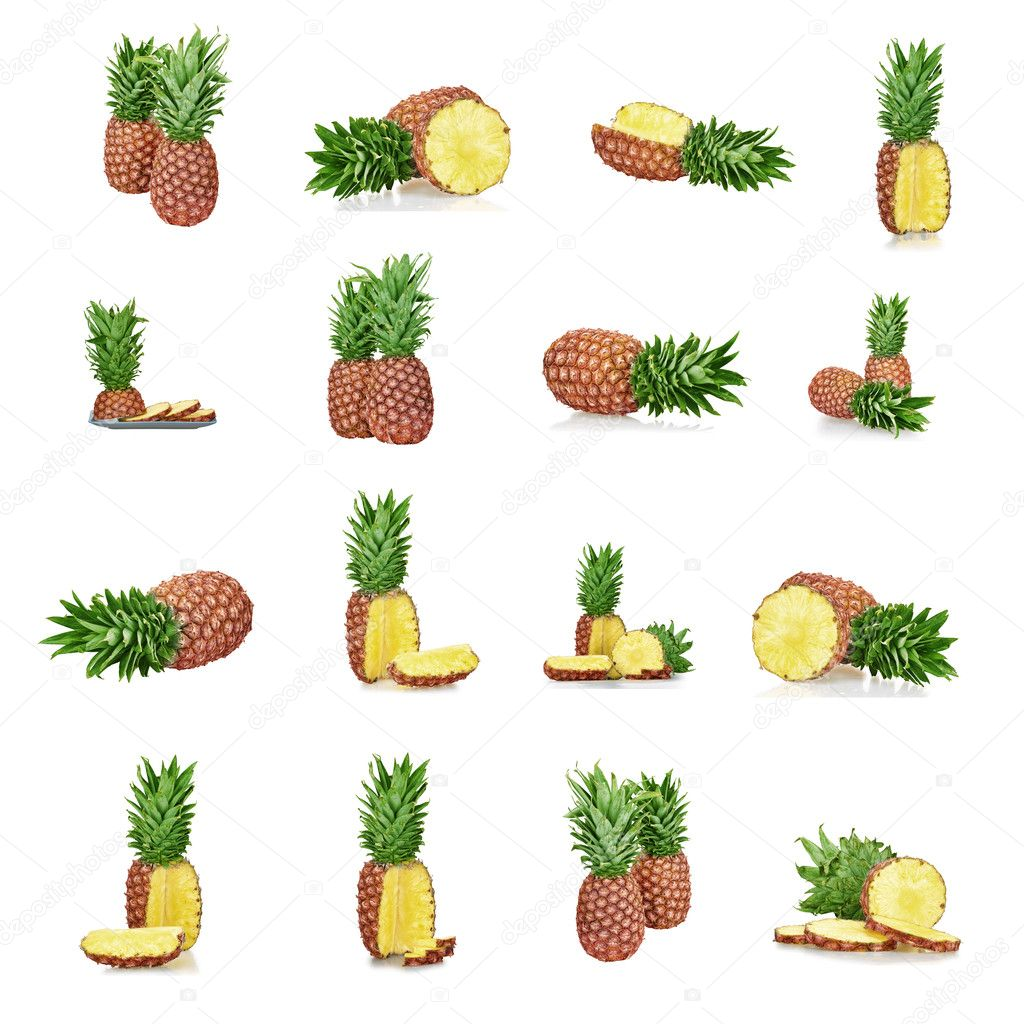 Set of a ripe pineapple isolated on white background — Stock Photo #9018731