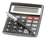 Calculator with pen isolated — Stock Photo