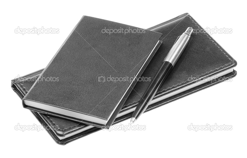 Leather notebook and pen isolated on the white background — Stock Photo #9338655