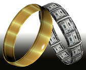 Wedding rings symbolizing prenuptial agreement — Stock Photo