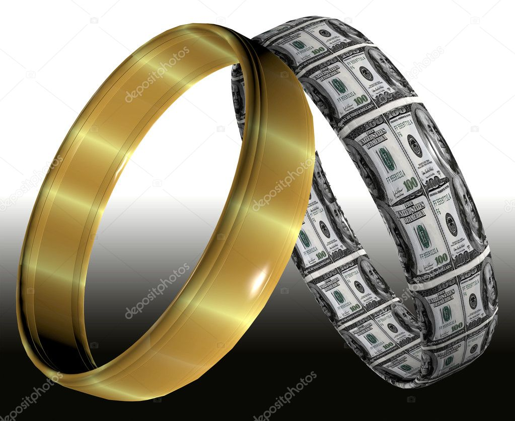 Two different wedding rings symbolizing prenuptial contracts and agreements on the consequences of divorce — Stock Photo #8274974