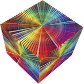 3d-kub i regnbågens färger — Stockfoto