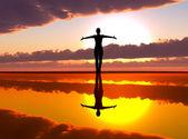 Woman welcoming the sunrise — Stock Photo