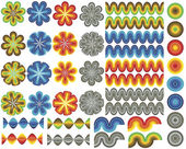 Set of retro stylized elements — Stock Vector