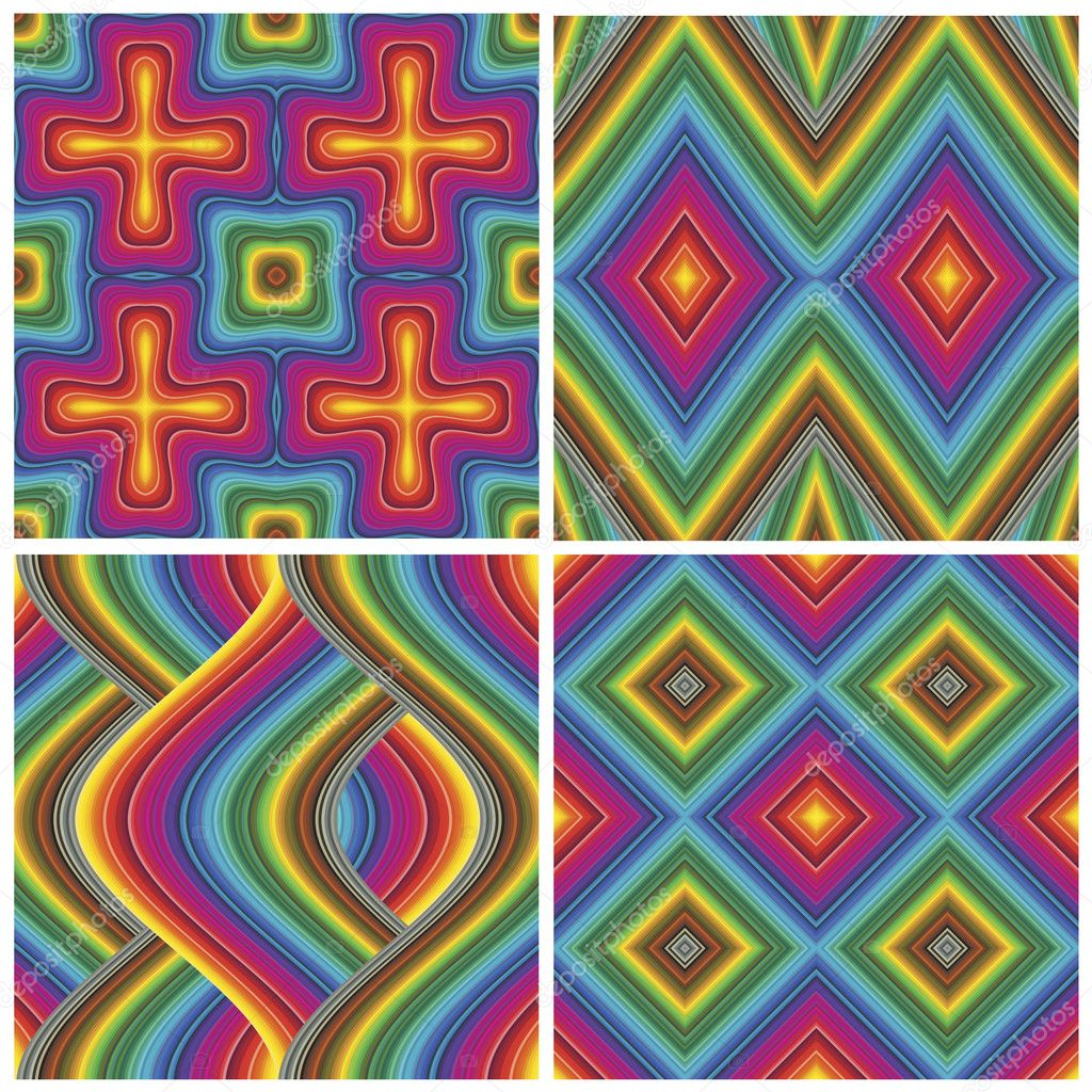 Set of seamless art deco textures and pattern in vivid and bright rainbow colors — Stock Vector #9831351