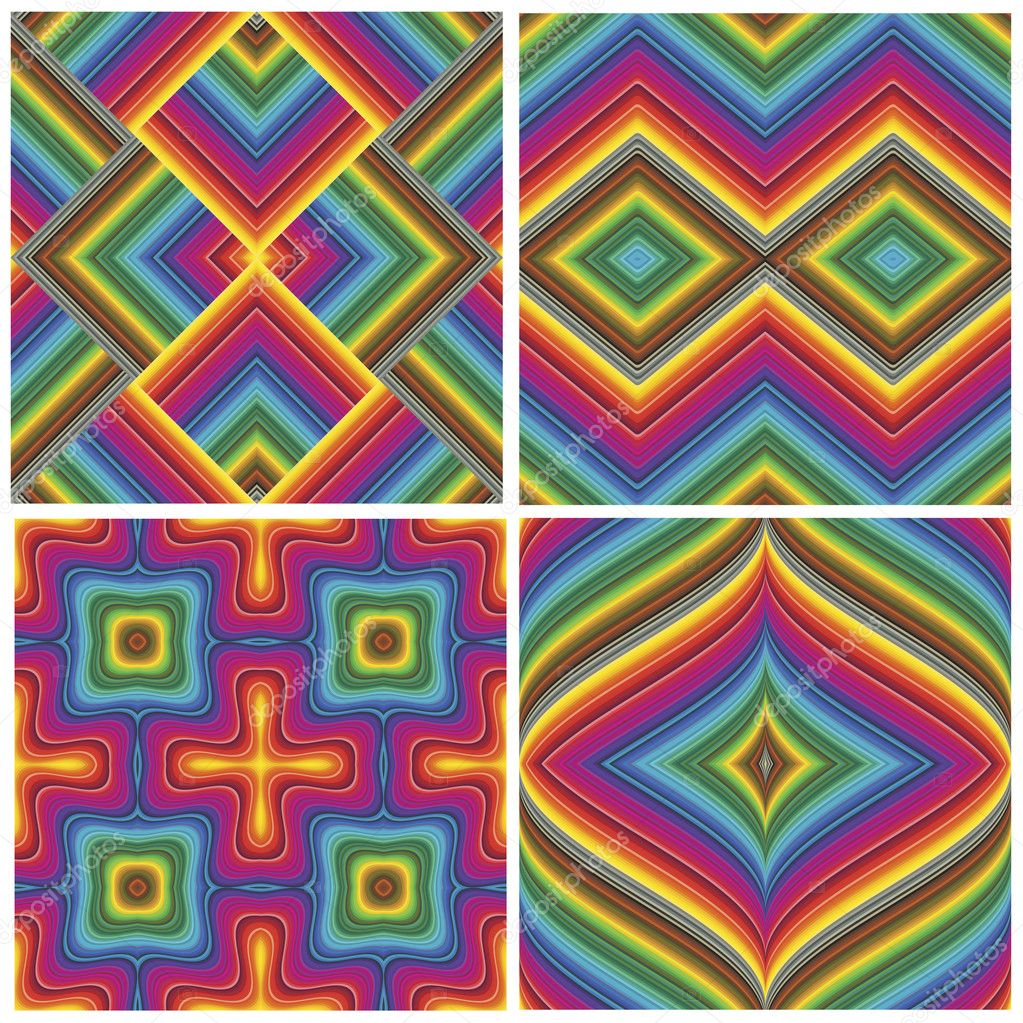 Set of seamless art deco textures and pattern in vivid and bright rainbow colors — Stock Vector #9831597