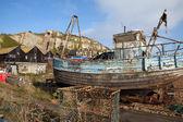 Fishing trawler wreck Hastings — Stock Photo