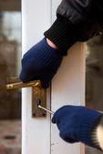 Theif breaking-in burglary security — Stock Photo