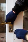 Theif breaking-in burglary security — Stock Photo