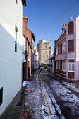 Lane street winter village Hastings England — Stock Photo