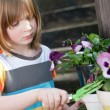 Stock Photo: Gardening child garden flowers planting plant