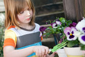 Gardening child garden flowers planting plant — Stock Photo