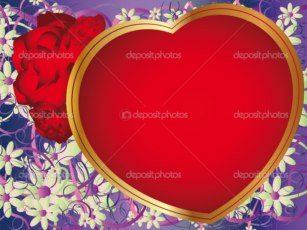 Romantic background with a large golden heart and roses  Stock Vector #8020517