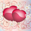 Flower illustration with hearts — Imagen vectorial