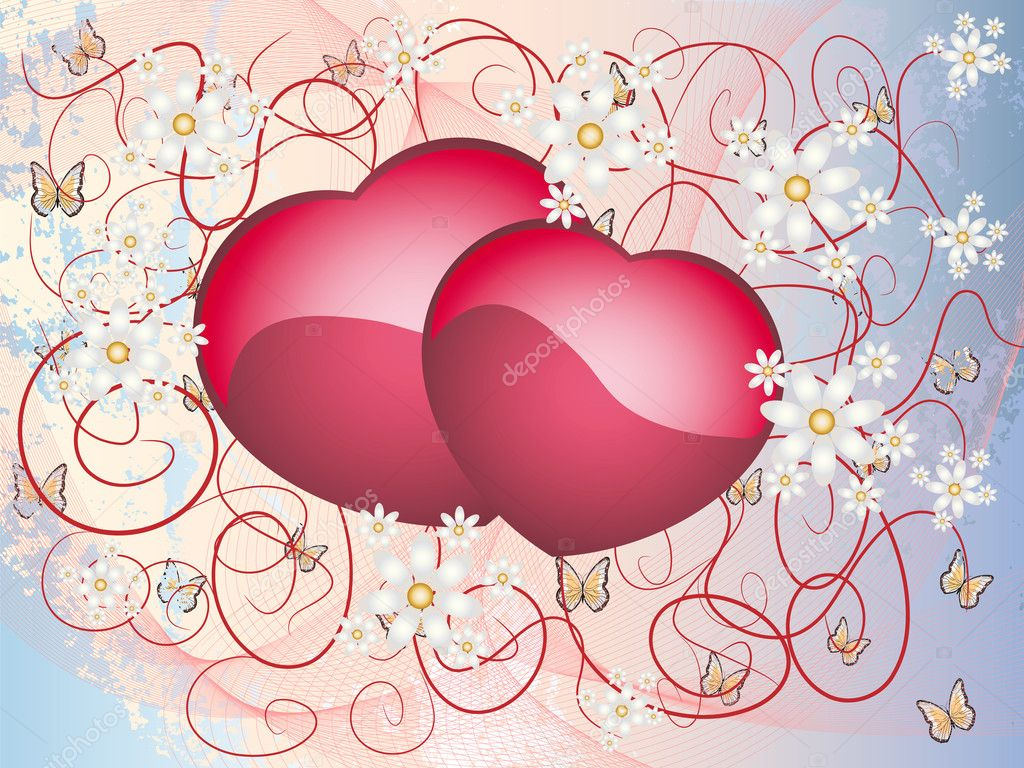 Colorful postcard illustration with hearts and flowers — Stock Vector #8055612
