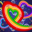 Colorful illustration with hearts — Stock vektor