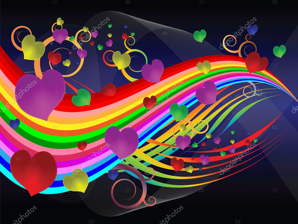 Bright colorful illustration with hearts of harmony in relationships and love  Stock Vector #8081266
