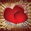 Crimson hearts on a dark background - Imagens vectoriais em stock