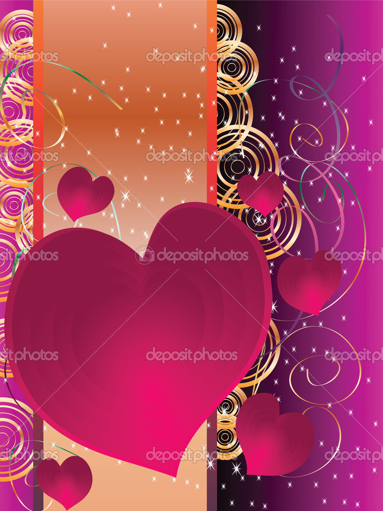 Holiday Cards Valentine's Day with hearts and a place — Stock Vector #8134467