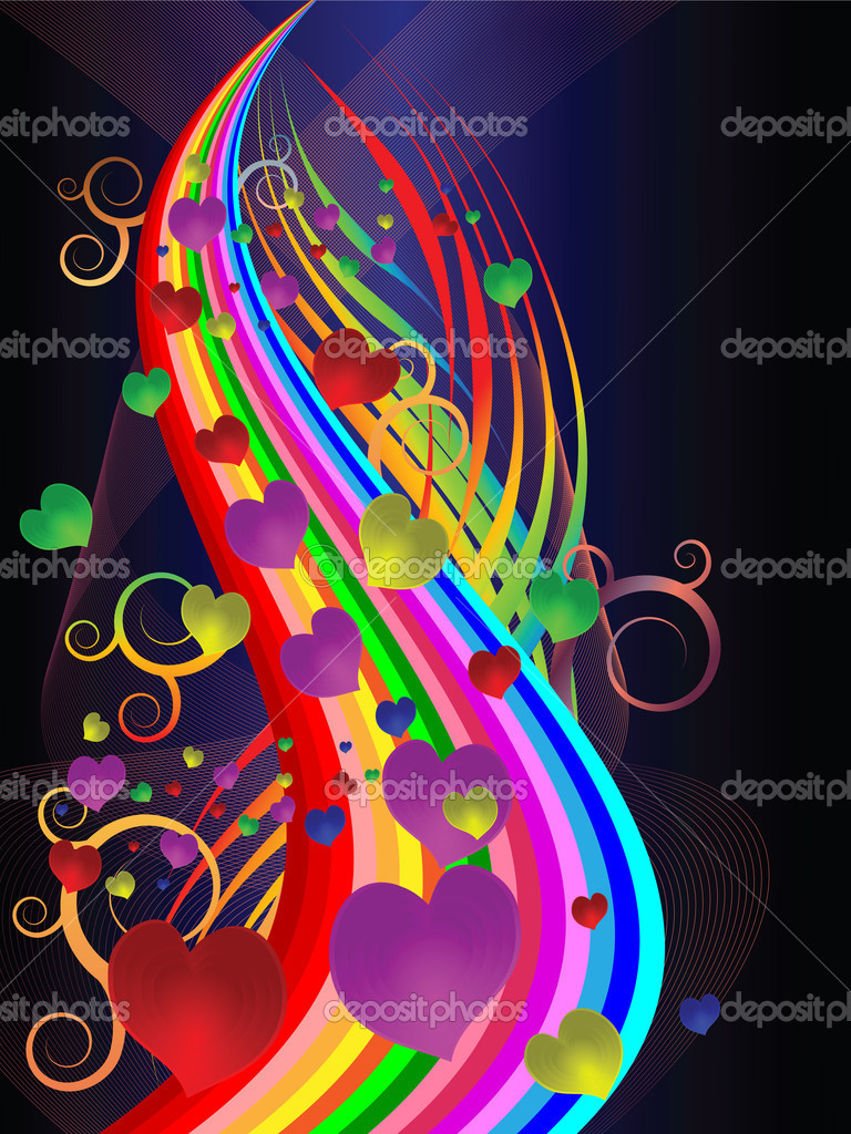 Bright festive illustration with colored stripes and hearts — Image vectorielle #8134590